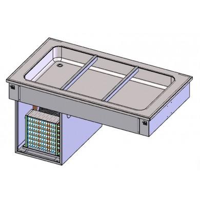 Piano refrigerato statico 2 bacinelle GN1/1 da incasso (vasca H 110 mm)