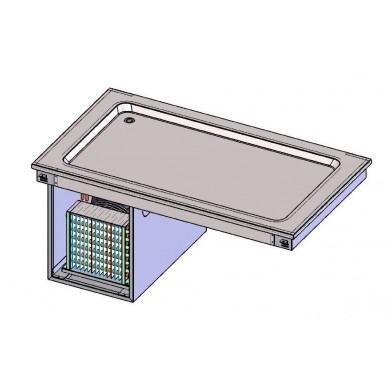 Piano refr. statico 2 bacinelle GN1/1 da incasso (vasca H 30 mm)