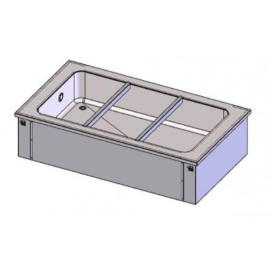 Piano bagnomaria ad acqua 3 bacinelle GN1/1 da incasso (vasca H 180 mm)