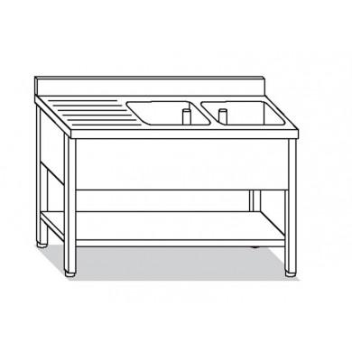 2 vasche, sgocciolatoio sx con ripiano 140x60x85 cm