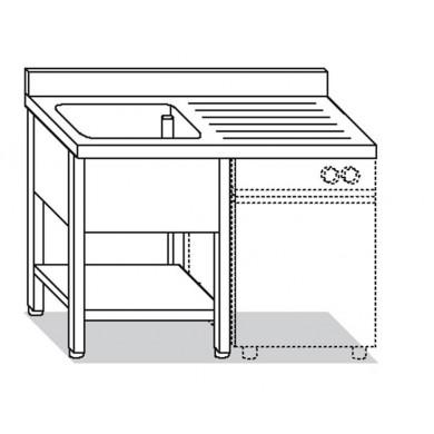 lavatoio su gambe 1 vasca con ripiano e sgocciolatoio destro per lavastoviglie 140x70x85 cm