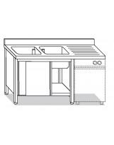 Su armadio 2 vasche per lavastoviglie 160x70x85 cm