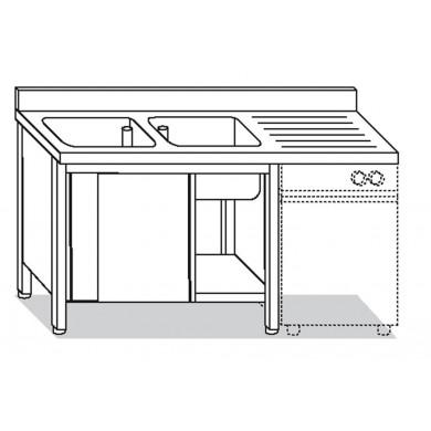 lavatoio armadiato 2 vasche con sgocciolatoio destro per lavastoviglie 160x70x85 cm