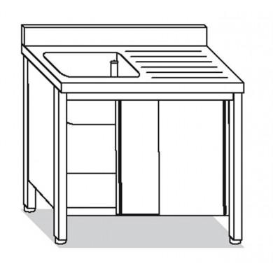 lavatoio armadiato 1 vasca con sgocciolatoio destro 130x60x85 cm