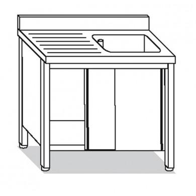 lavatoio armadiato 1 vasca con sgocciolatoio sinistro 130x60x85 cm