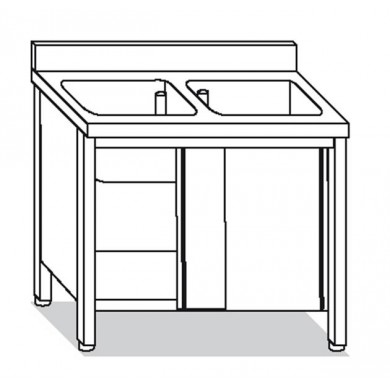 lavatoio armadiato 2 vasche 100x70x85 cm