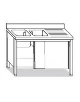 Su armadio 2 vasche, sgocciolatoio dx 140x60x85 cm