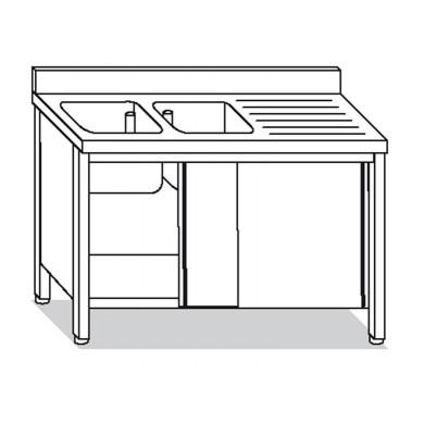 lavatoio armadiato 2 vasche con sgocciolatoio destro 160x60x85 cm