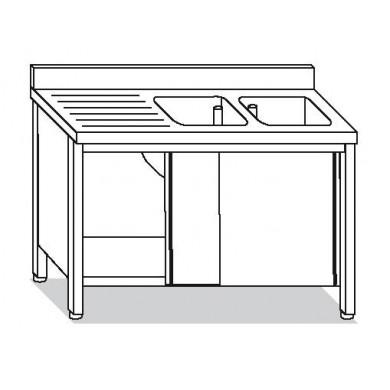 Su armadio 2 vasche, sgocciolatoio sx 200x60x85 cm