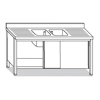 lavatoio armadiato 2 vasche con 2 sgocciolatoi 190x60x85 cm