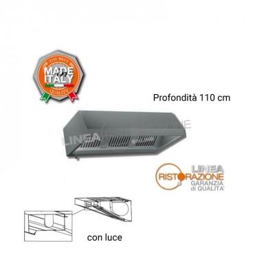 Cappa PARETE con LUCE senza MOTORE L. 200 cm - P. 110 cm