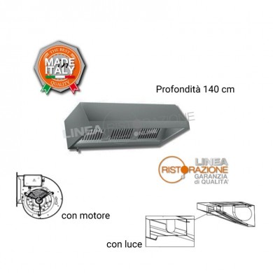 Cappa PARETE con LUCE e MOTORE L. 280 cm - P. 140 cm