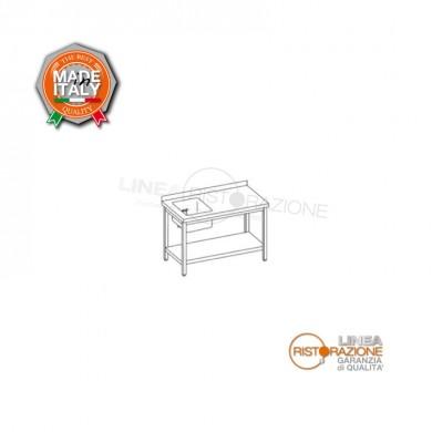 Tavolo su gambe 140x70x85 cm con ripiano, alzatina e vasca 40x40 a sinistra
