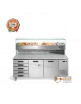 Banco pizza 2 porte, Cassettiera e Vetrina Refrigerata