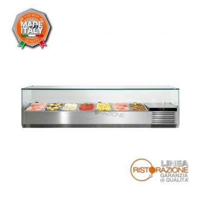 Vetrina refrigerata porta ingredienti per pizza con struttura vetro lunghezza 126 cm