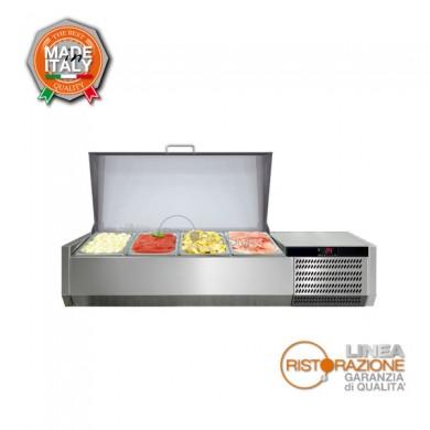 Vetrina porta ingredienti pizza con coperchio inox 5 vaschette lunghezza 126 cm