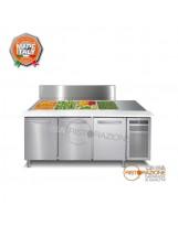 Saladette refrigerata 3 porte con coperchio inox