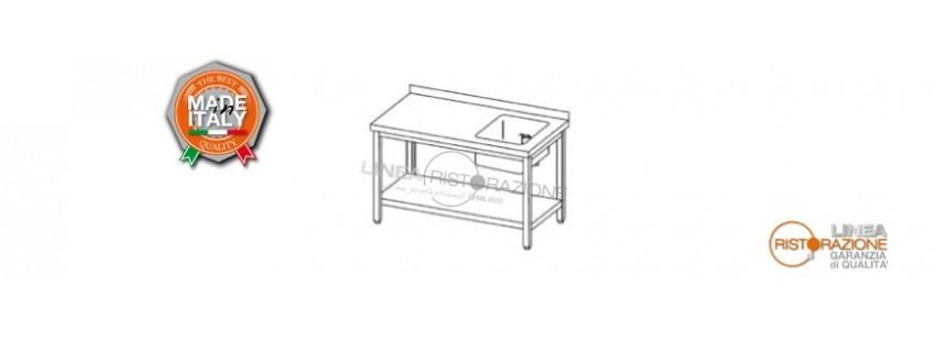 Tavoli con Ripiano, Alzatina e Vasca Destra 40x40 cm Prof. 60 cm