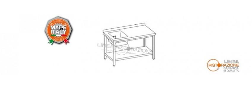 Tavoli con Ripiano, Alzatina e Vasca Sinistra 40x40 cm Prof. 70 cm