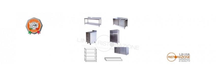 Arredamento Cucine in Acciaio Inox - Linea TOP in Acciaio Inox AISI 304