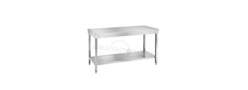 Tavoli in acciaio inox con Ripiano Inferiore Prof. 60 cm