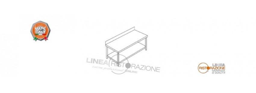 Tavoli con Ripiano e Alzatina Prof. 60 cm in Acciaio Inox 304