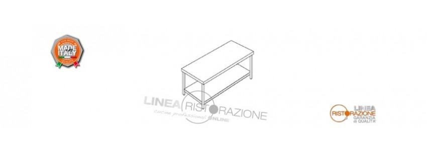 Tavoli con Ripiano Prof. 70 cm in Acciaio Inox 304