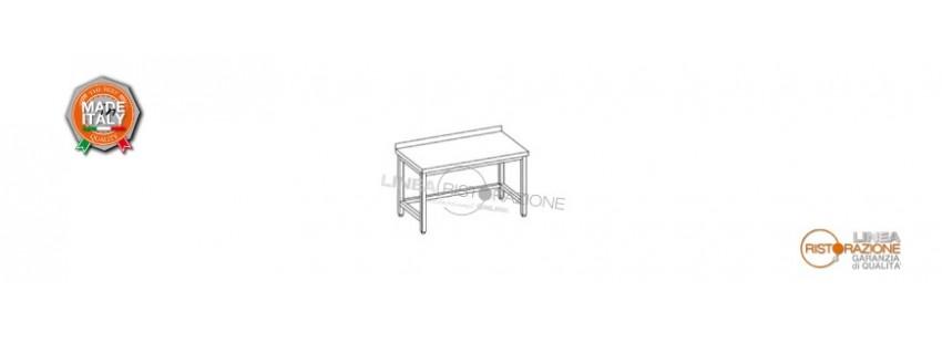 Tavoli con Cornice su Tre Lati e Alzatina Prof. 60 cm in Acciaio Inox 304