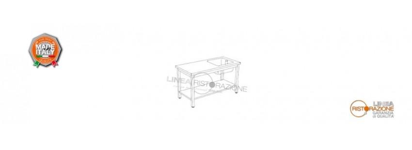 Tavoli con Ripiano e Vasca Destra 40x40 cm Prof. 70 cm in Acciaio Inox 304