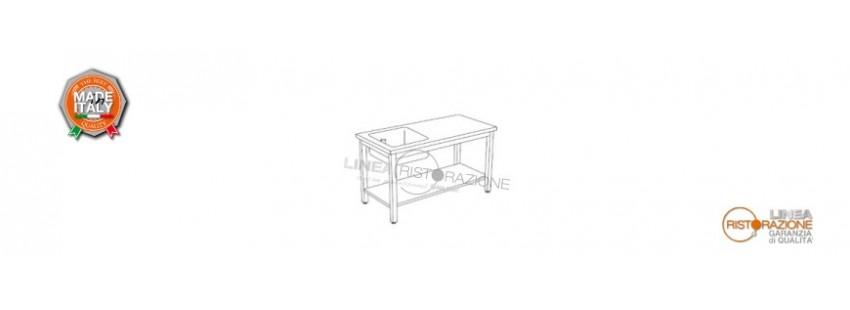Tavoli con Ripiano e Vasca Sinistra 40x40 cm Prof. 60 cm in Acciaio Inox 304