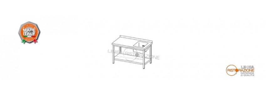 Tavoli con Ripiano, Alzatina e Vasca Destra 40x40 cm Prof. 70 cm in Acciaio Inox 304