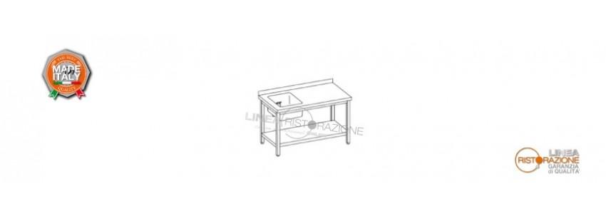Tavoli con Ripiano, Alzatina e Vasca Sinistra 40x40 cm Prof. 70 cm in Acciaio Inox 304