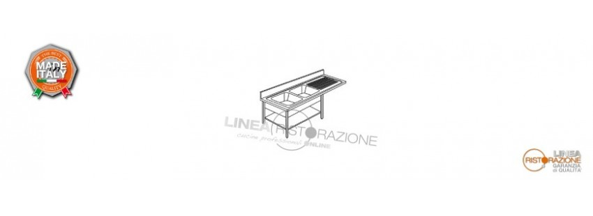 Lavelli con Ripiano e Incasso Lavastoviglie Prof. 70 cm in Acciaio Inox 304