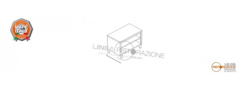 Tavolo Armadiato Passante a Giorno Prof. 70 cm in Acciaio Inox 304