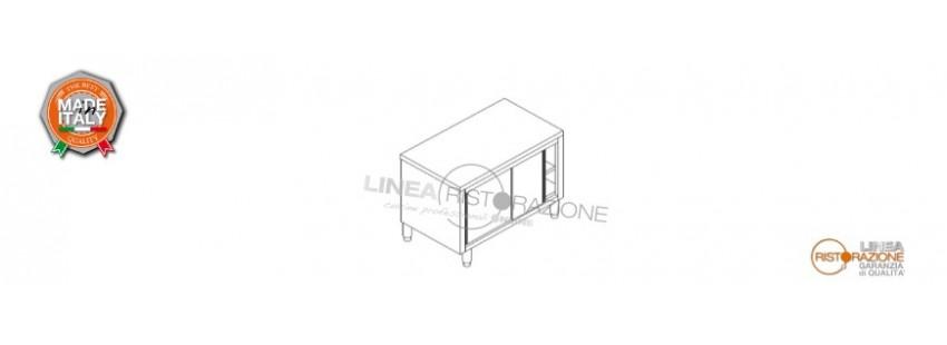 Tavolo Armadiato con Porte Scorrevoli Prof. 70 cm in Acciaio Inox 304