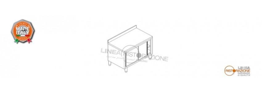 Tavolo Armadiato con Porte Scorrevoli e Alzatina Prof. 60 cm in Acciaio Inox 304