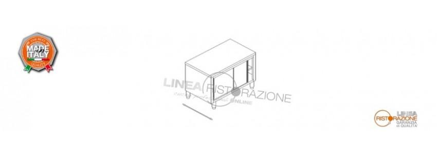 Tavolo Armadiato Passante con Ante Scorrevoli Prof. 70 cm in Acciaio Inox 304