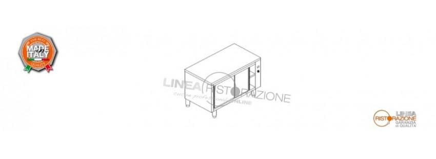 Tavolo Armadiato Caldo con Ante Scorrevoli Prof. 70 cm in Acciaio Inox 304