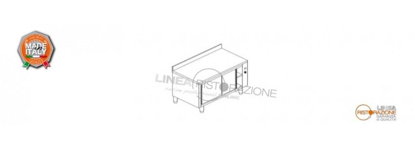 Tavolo Armadiato Caldo con Ante Scorrevoli e Alzatina Prof. 70 cm in Acciaio Inox 304