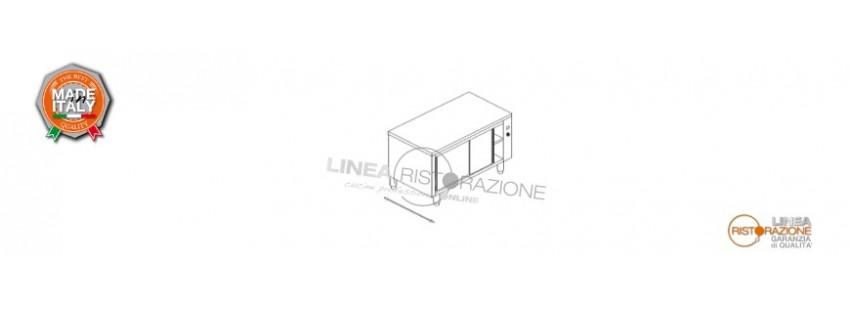 Tavolo Armadiato Caldo Passante con Ante Scorrevoli Prof. 60 cm in Acciaio Inox 304