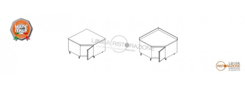 Tavolo Armadiato ad Angolo con Porta Battente in Acciaio Inox 304