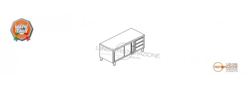 Tavolo Armadiato con Cassettiera e Ante Scorrevoli Prof. 60 cm in Acciaio Inox 304