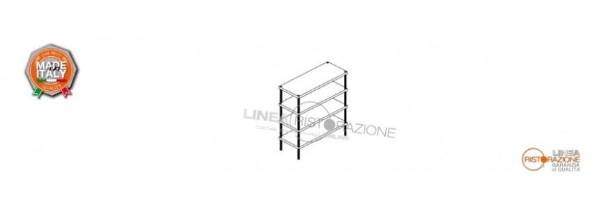 Scaffali Ripiani Lisci Prof. 60 cm e Altezza 200 cm in Acciaio Inox 304
