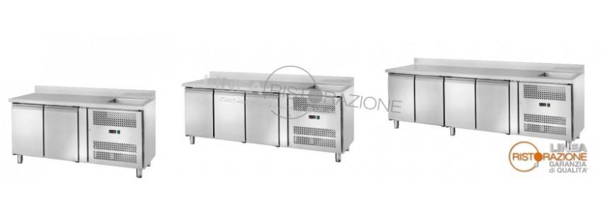 Tavoli refrigerati con lavello integrato Profondità 70 cm