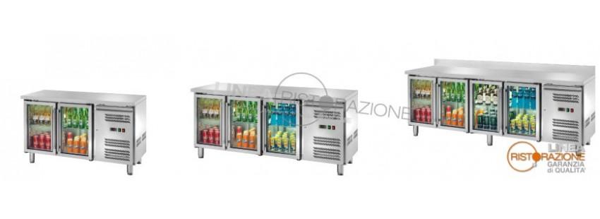 Tavoli refrigerati con Porta in Vetro Profondità 70 cm